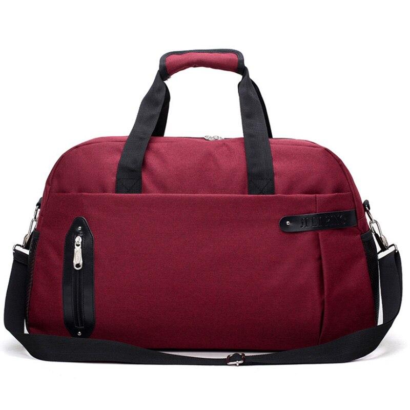 Sports Suitcase Men'S Large-Capacity Shoulder Messenger Bag Casual Outdoor Weekend Handbag Red Wine