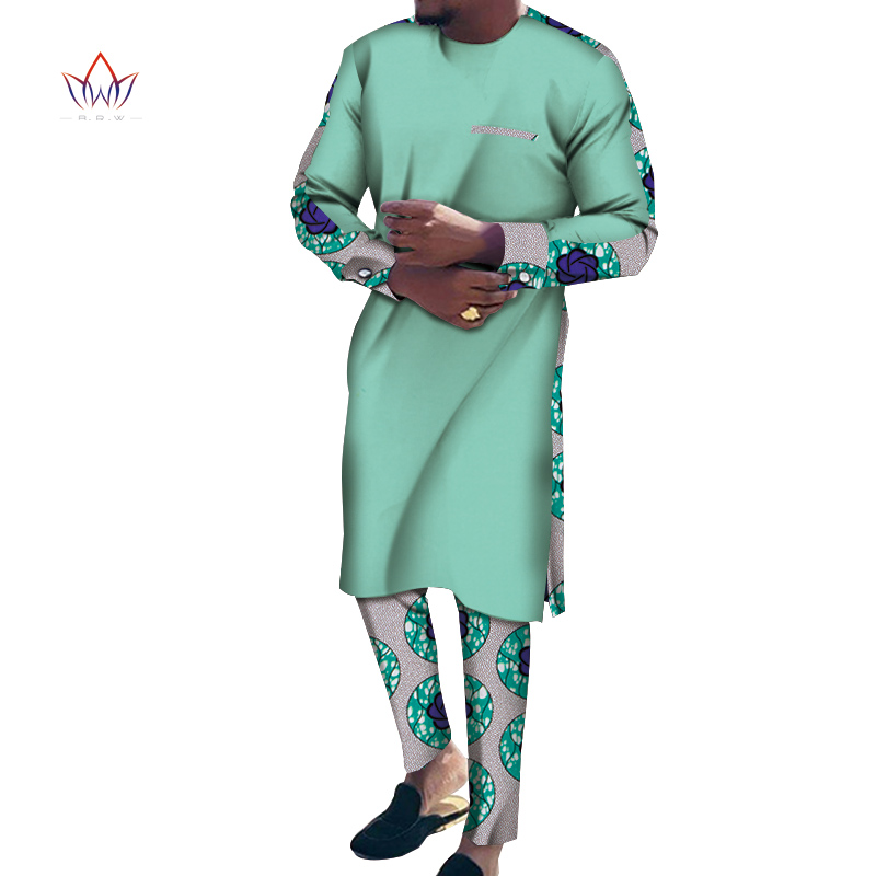 Bazin Riche Men 2 Pieces Pants Sets African Design Clothing African Clothes Casual Men Long Top Shirts And Pants Sets WYN1056