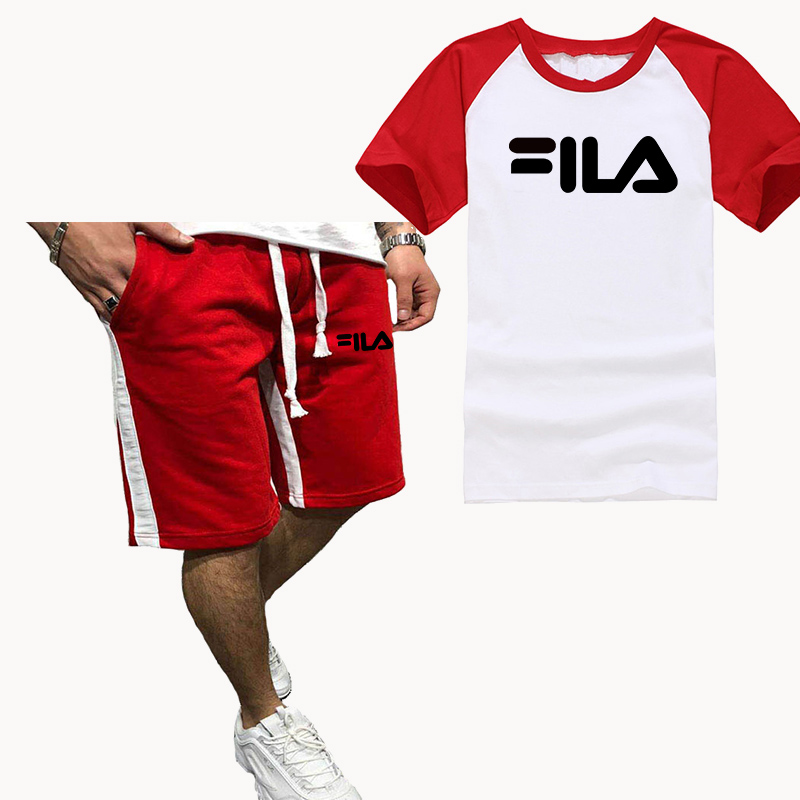 New Raglan Sleeves Short Sleeve Sets Print Men Sets Cotton T Shirt Shorts 2 Pieces Set Tracksuit Men Summer Tees Set Sportswear