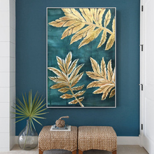 100% Hand Painted Golden Leaves Art Oil Painting On Canvas Wall Adornment Pictures For Live Room Home Decor
