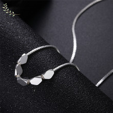 Pure Silver 925 Necklaces For Women Collier Femme Geometric Beads Pendant & Necklace Box Chains Fashion Jewelry Accessory Gifts(China)