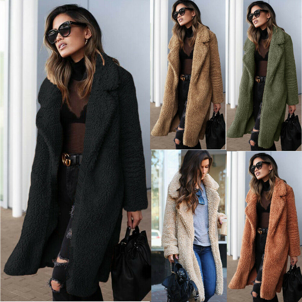 Warm Winter Women Teddy Bear Fur Coat Ladies Knee Long Vintage Fluffy Coat Fleece Faux Fur Jacket Oversized Overcoat Outwear Top