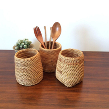Baskets Storage-Box Tableware Office-Pen-Organizer Rattan Bucket Shovel Forks Chopsticks-Tube