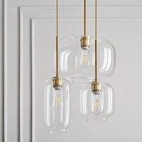 Modern simple pendant light living room cafe bar restaurant bedroom round glass hung lamp