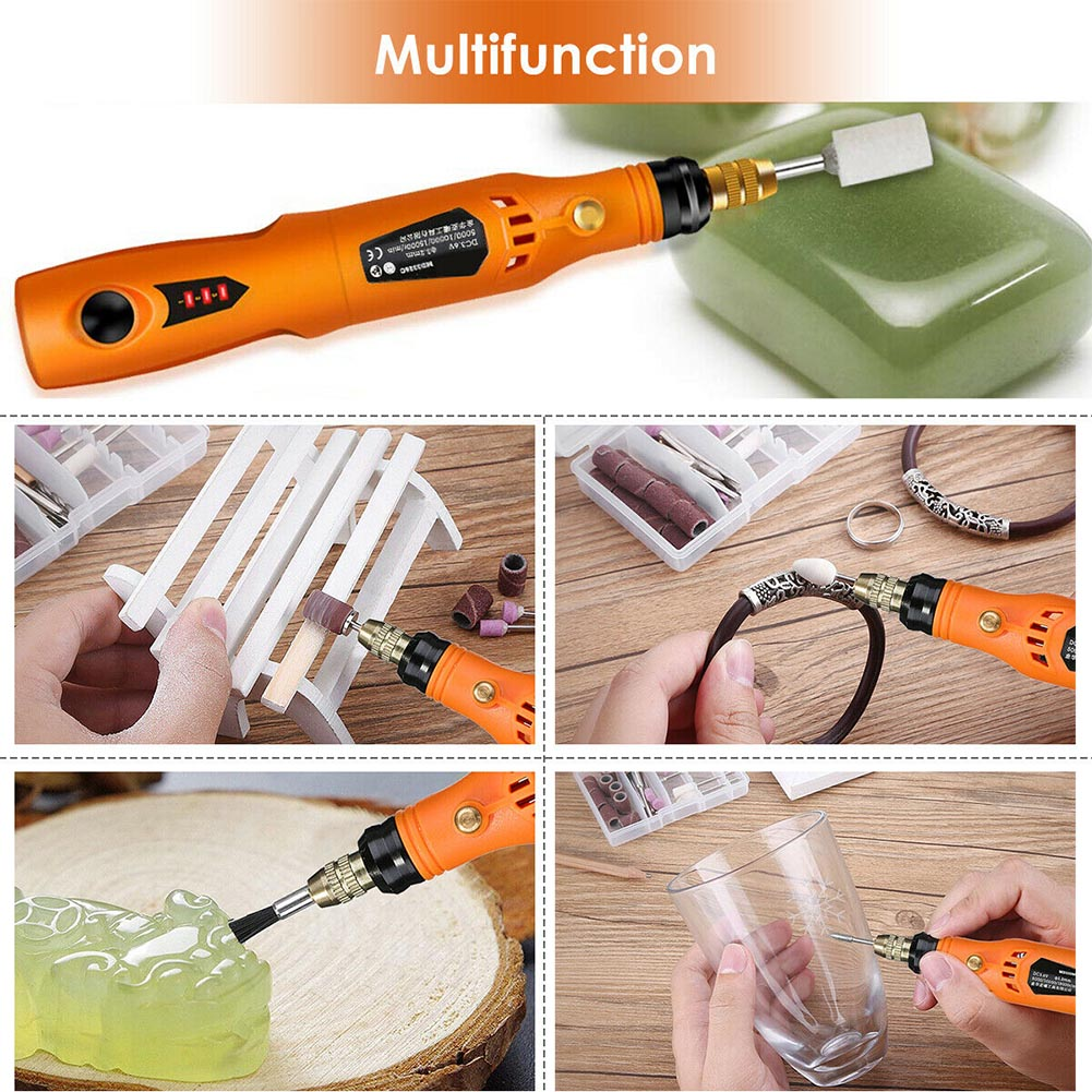 34pcs Charging Tool Jade Engraving Pen Kit Adjustable Speed Wireless Polisher With Brush Woodworking Mini Electric Drill Grinder
