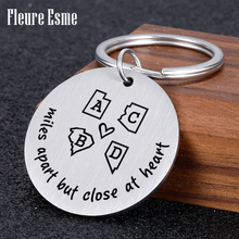 Personalized Lnitials Keychain Personal Metal Key Chain Engraved Friends Key Holder Family Keyring Pendant Gift For Man Women