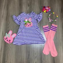 Wiosna dziewczynek stroje sukienka lawendowy pasek króliczek bawełna mleko jedwabne ubrania kolano długość mecz skarpetki naszyjnik z kokardą i torebką