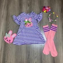 spring baby girls outfits dress lavender stripe bunny cotton milk silk clothes knee length match socks bow necklace and purse