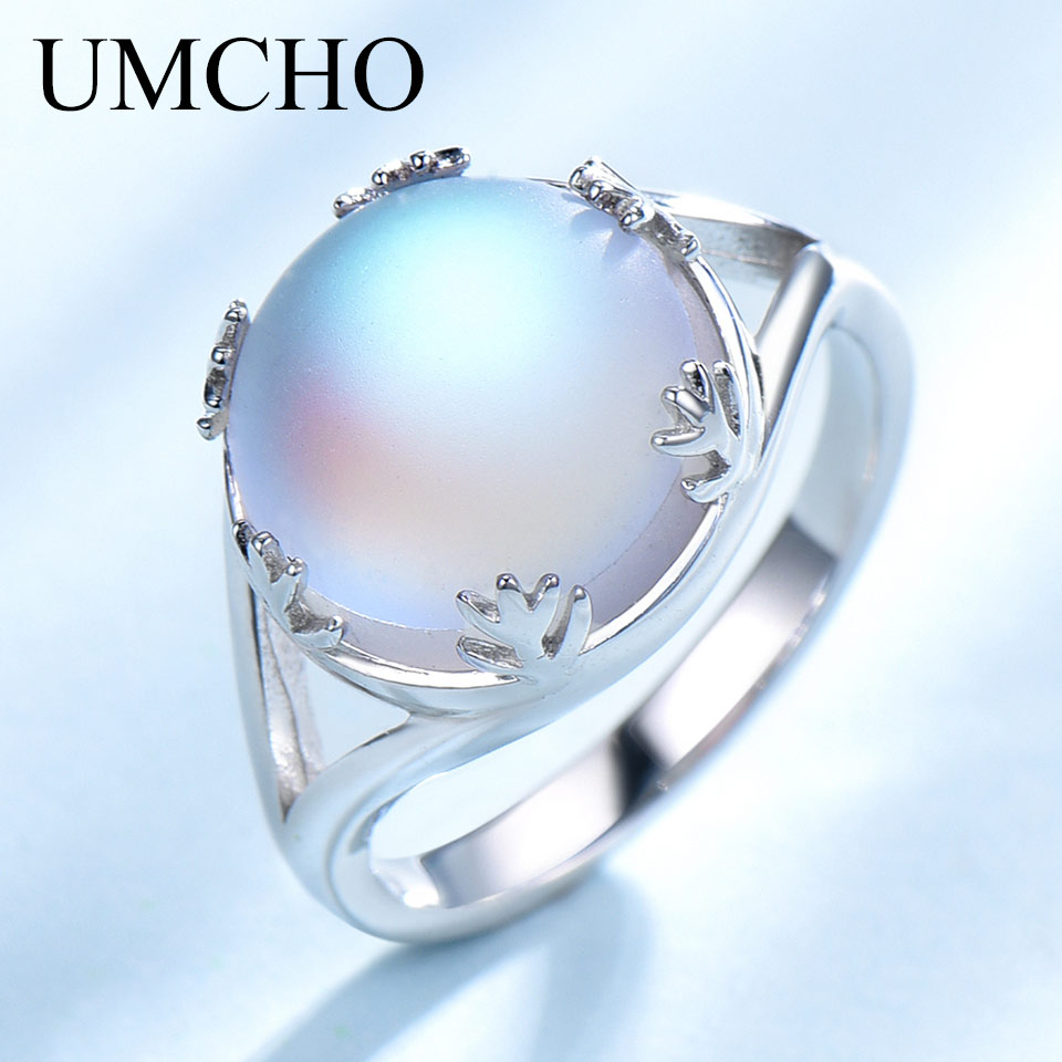 UMCHO Real 925 Sterling Silver Jewelry Aurora Borealis Colorful Gemstone Rings For Women Romatic Elegant Gift Fine Jewelry