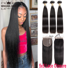 Brazilian Straight Hair 3 Bundles With 5×5 Closure Wiggins Human Hair Bundles With Closure Natural Remy Big Size Lace Closure