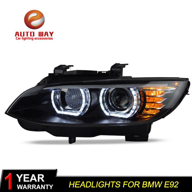 Boîtier de lampe frontale de style de voiture pour BMW M3 328i 335i 330i E92 E93 2006 2012 phares phare LED lentille DRL Double faisceau bi xénon - 5
