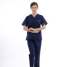 Summer Hospital Medical Scrub Clothes Sets Dental Clinic Beauty Salon Nurse Uniforms Fashion Design Slim Fit Doctors Cloth Heart