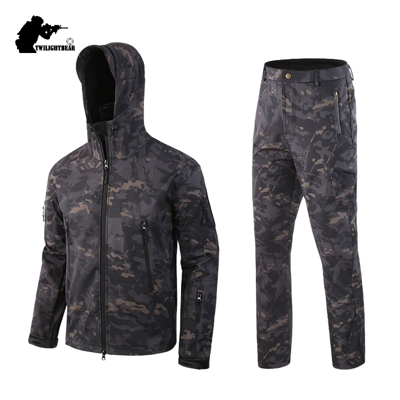 TAD Camo SoftShell Tactical Suits Fleece Military Shark Skin Waterproof Jackets Pants Men Clothing Camping Hunting Suit BF051