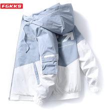 Fgkks marca de moda masculina impressão jaqueta primavera outono novos homens alta rua com capuz outerwear na moda casual jaquetas casaco masculino