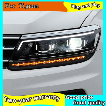 Car Styling for VW Tiguan Headlights 2017 New Tiguan LED Headlight LED DRL Bi Xenon Lens Headlight Dynamic turn signal