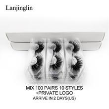 LANJINGLIN 20/30/40/100 pairs sahte vizon kirpik toptan toplu doğal uzun yanlış eyelashes kabarık yumuşak 3d lashes cilios makyaj