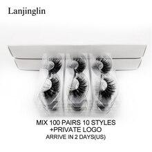 LANJINGLIN 20/30/40/100 זוגות פו מינק ריס סיטונאי בתפזורת טבעי ארוכים פלאפי רך 3d ריסים cilios איפור