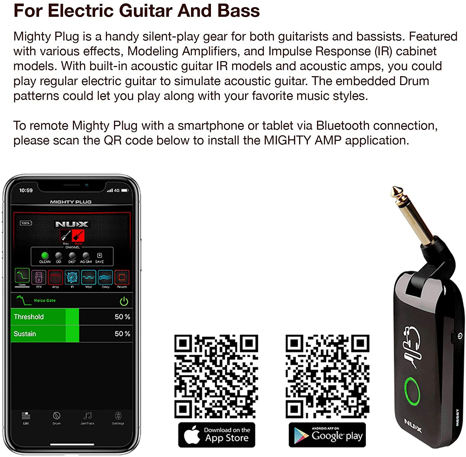 NuX Mighty Plug Headphone Amplifier with Bluetooth! Turn your acoustic guitar into electric or bass & electric into acoustic! Amazing!!
