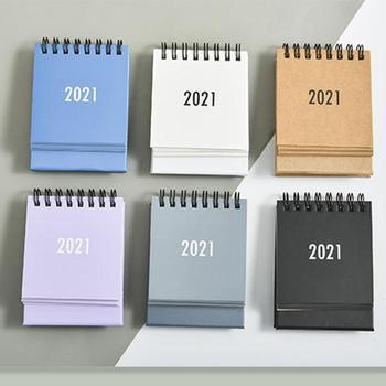 Creative Mini Desktop 2021 Calendar Pure Color Creative Desk Vertical Portable Memo Plan Multi-funct
