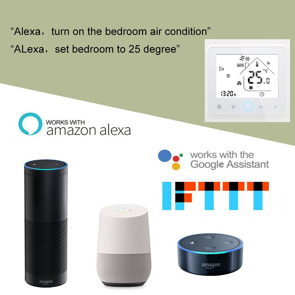 Wifi Central Air Conditioner Thermostat Alexa 2/4 Pipe Three Wind Speed Wifi Thermostat Office Home Room Temperature Controller