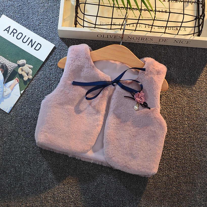 Yürümeye başlayan kızlar kürk yelek çocuklar ceketler 2020 yeni çocuk yelek çocuk giysileri bebek yelek kış kız giyim bebek kız giysileri