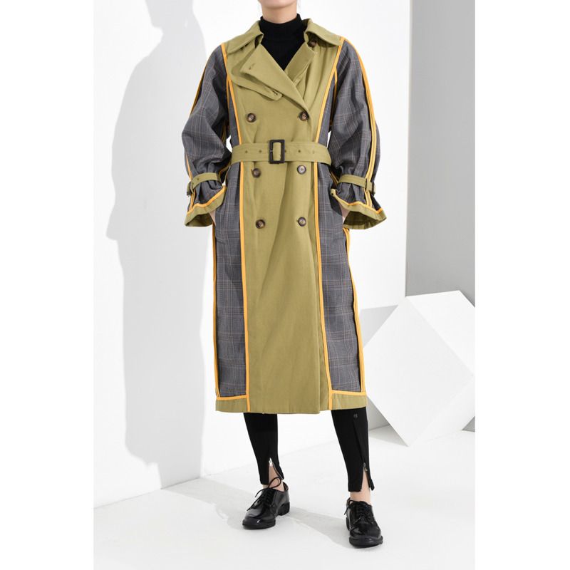 WKOUD EAM Women Turn Down Collar Leisure Full Sleeve Patchwork Wide Trench Coat Outwear Double Face Loose 2020 New 19F-a68