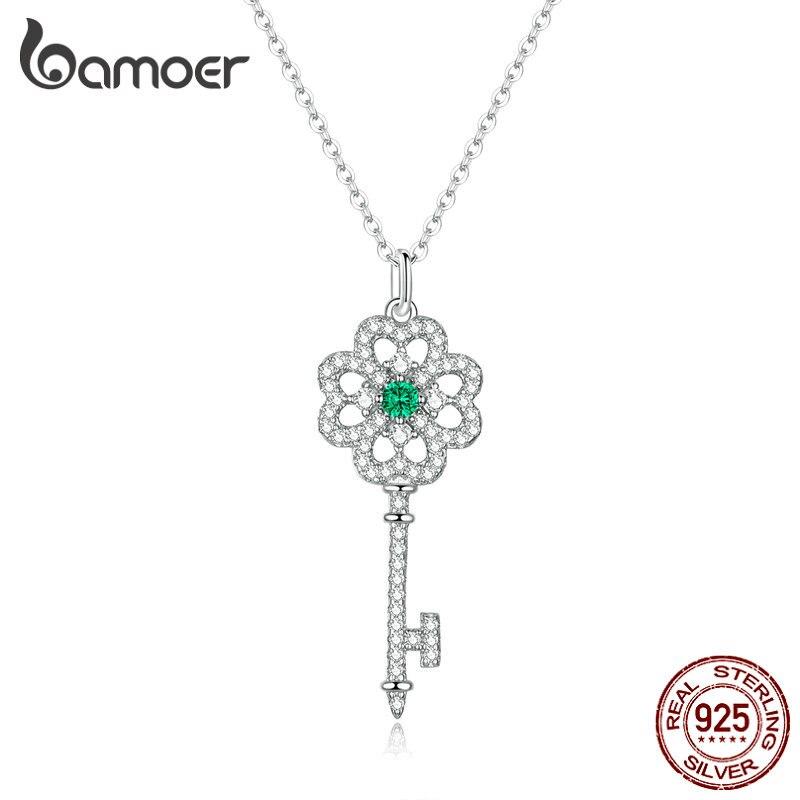 Bamoer Genuine 925 Sterling Silver Fashion Key Pendant Necklace For Women Chain Link Neckaces Fine Jewelry Bijoux BSN141