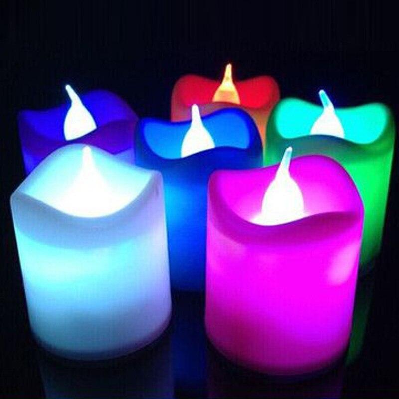 Светильник-свеча светодиодные мерцающие рождественские украшения для дома и свадьбы с батареей Романтический электронный бездымный подарок на день рождения - Цвет: Multicolour