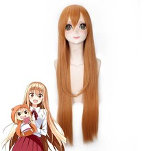Himouto! Umaru-chan Doma Umaru Cosplay Wig Synthetic Hair Light Orange Long Straight Halloween Costume Play Wigs+cap damir doma водолазки