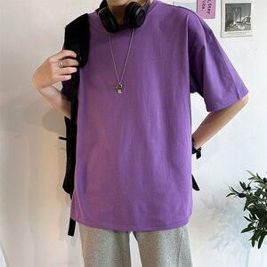 Oversize Herren T-shirts Männlichen Top Tees Frauen Sommer T-shirt Kurzen Drop Schulter Baumwolle Lose Plus Größe 4XL Plain Solide Mann kleidung