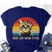 Melhor gato mãe nunca imprimir t camisa das mulheres de manga curta o pescoço solto tshirt das senhoras moda camiseta tops roupas mujer