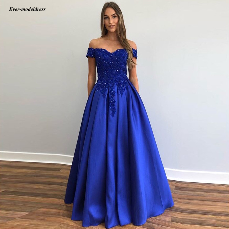Royal Blue Long   Prom     Dresses   2019 Off Shoulder Lace Appliques Beaded Lace Up Back Plus Size Evening Party Gowns Robe De Soiree