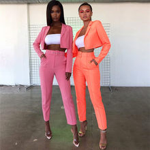 OL Style Autumn Suit Long Sleeve Short Sexy Coat Solid High Waist trousers Orange Green High Street Club 2pcs Set Ins hot(China)