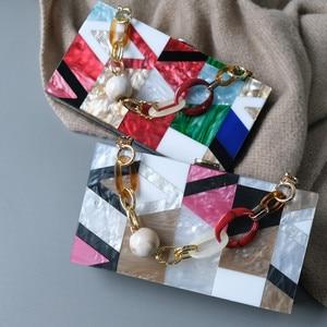 Image 2 - New Women Messenger Bags Brand Fashion Luxury Acrylic Geometric Lattice Patchwork Handbag Party Prom Clutch Woman Evening Bag
