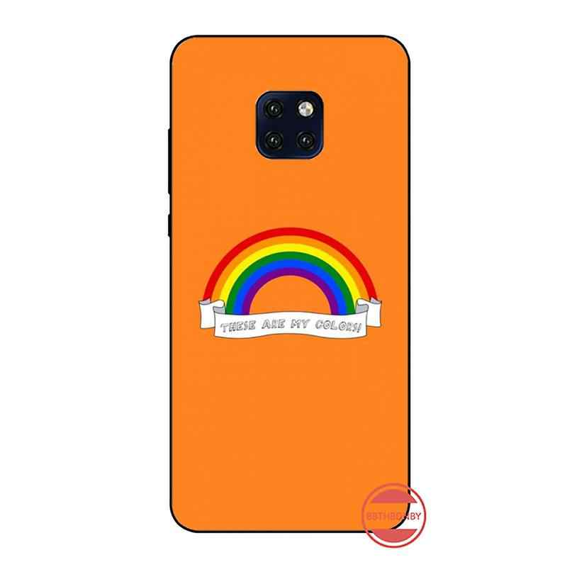 LGBT 색상 레인보우 블랙 TPU 소프트 전화 케이스 커버 화웨이 메이트 9 10 20 프로 라이트 20x 노바 3e P10 플러스 P20 프로 Honor10 라이트