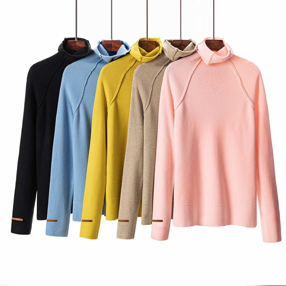 Gold Hands Fashion Casual Brand Sweater Solid Long Sleeve V-neck Pullover Women Knitting Autumn Winter Female Turtleneck Sweater