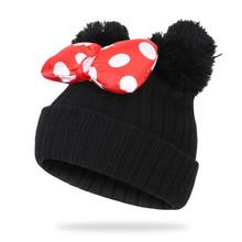Jesień i zima 2021 nowych dzieci 1-9 lat łuk podwójna wełniana piłka Mickey śliczny słodki sweter kapelusz ciepły czapka tanie tanio CN (pochodzenie) COTTON Poliester Unisex