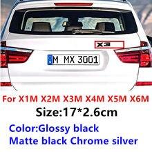 Abs carta emblema para bmw m x1m x2m x3m x4m x5m x6m logotipo traseiro emblemas tronco do carro estilo acessórios emblema adesivo preto cromo