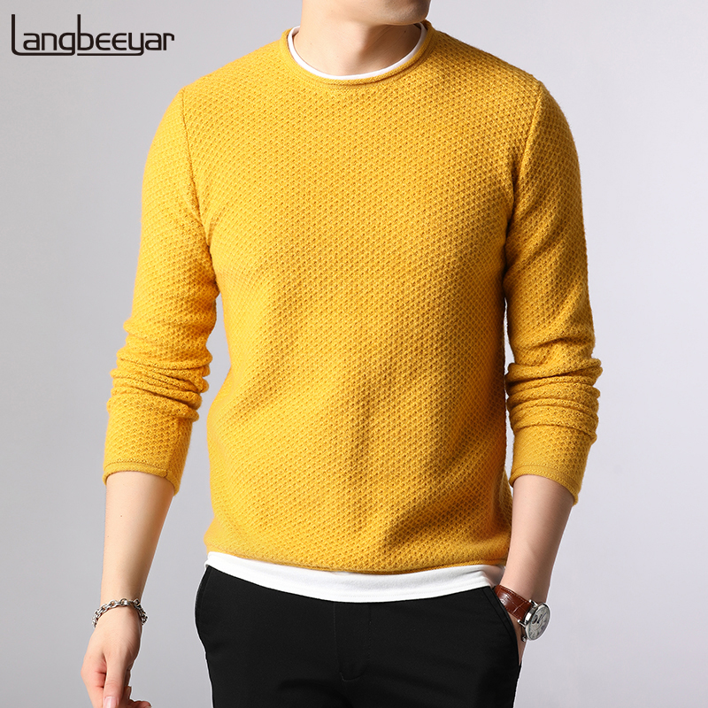 New Fashion Brand Sweaters Men Pullovers O-Neck Slim Fit Jumpers Knitwear Solid Color Autumn Korean Style Casual Clothing Male