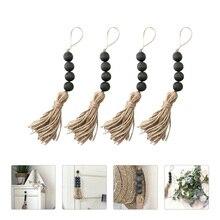 4 Pcs Pastoral Style Wooden Beads Ornamnet Wall Hanging Bead Tassel Pendant