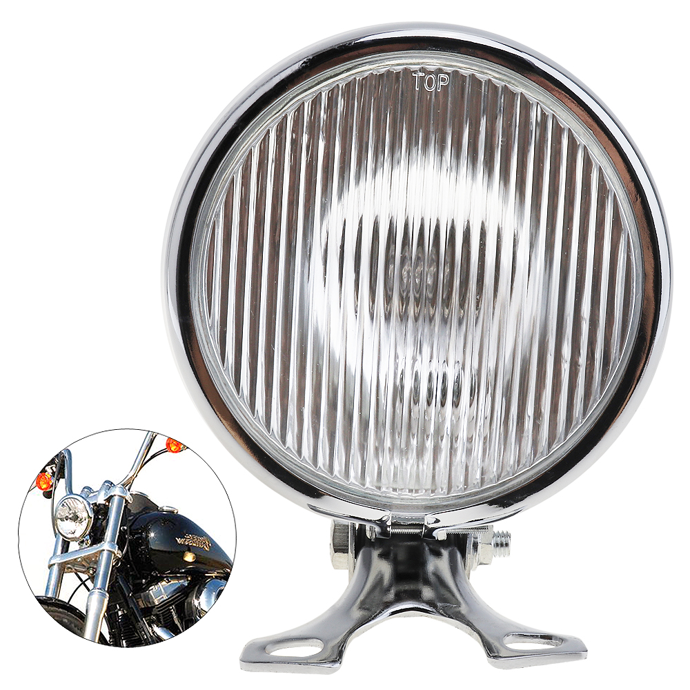 5 Inch 35W 12V Universal Retro Metal Motorcycle Headlight Round with Holder Electroplate Silver Motorcycle Headlight Bulbs