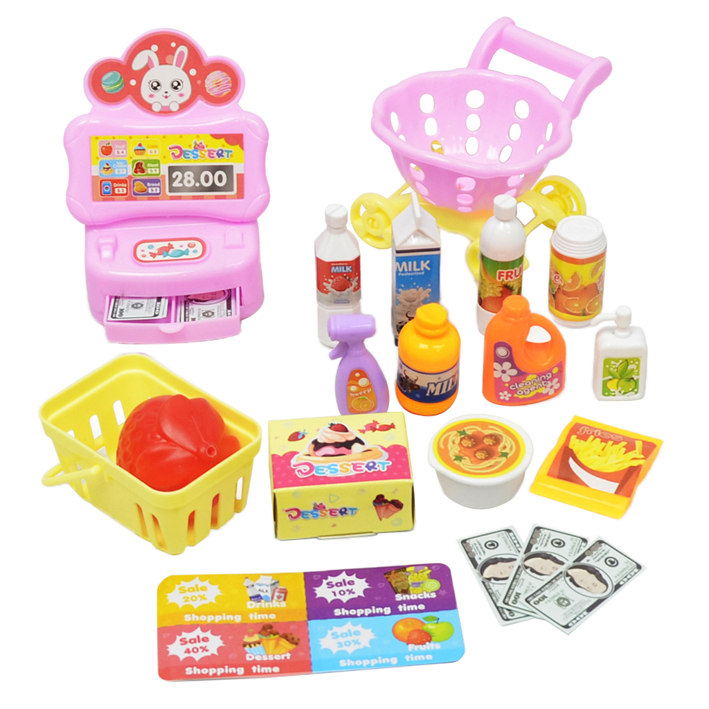 Educational <font><b>Grocery</b></font> <font><b>Store</b></font> Pretend Play <font><b>Toy</b></font> Set 17 Pcs – Promote Learning, Hand to Eye Coordination, Fine Motor Skills image