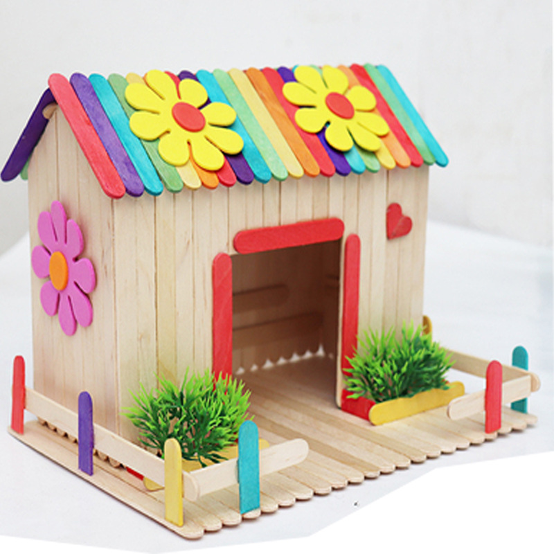 Wooden Colorful Popsicle Sticks Kids DIY Hand Craft Ice Cream Props Making Crafting Small House Children Lolly Cake Tools Toys