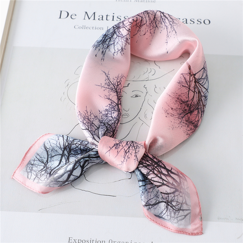 Print Elegant Neck Ring Scarf Silk Shawls Women Square Small Wraps Hair Accessories Head Band Foulard Neckerchief Tie