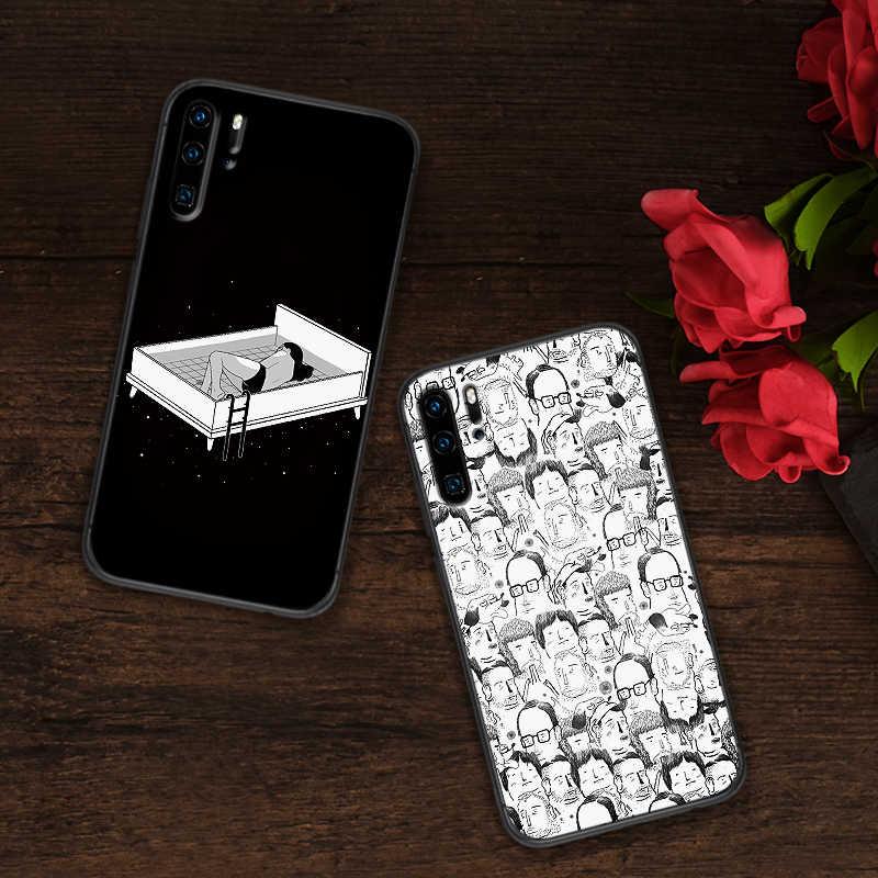 Ốp Lưng thời trang cao cấp Cho Huawei Y6 Y7 2018 Y9 Thủ Giao Phối 10 20 Pro Nova2 3 4 Lite Nova 2i 3i 5I Màu Đen và trắng ngoại lai gió boygirl