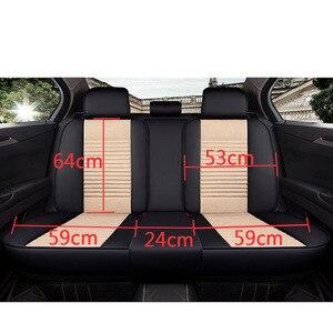 Image 4 - SEAMETAL רכב מושב מכסה אוניברסלי פשתן כיסוי עור מושב מכסה מגן מותג יוקרה עיצוב עם קדמי מושב משענת כרית