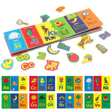 Children's Early Education Wooden Magnetic Matching Letter Book Learning Toy Magnetic Letter Stickers Matching Educational Toys(China)