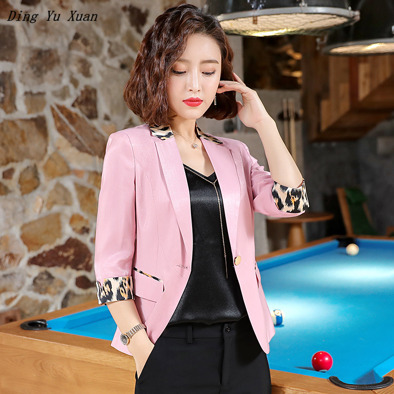 Ladies Black White Pink Yellow Short Jacket Spring Summer Woman Slim Fit Blazer for Women Three Quarter Sleeve Blazer Mujer 2020