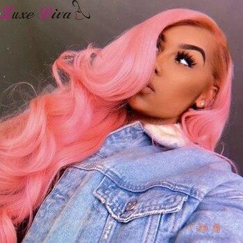 Luxediva mechones de color rosa con cierre extensiones de pelo ondulado mechones...