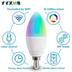 Image 4 - Lampada a LED Smart tuya WiFi E14 lampadina a candela supporto ECHO/Google Home/IFTTT telecomando vocale Smart RGBCW Led Light